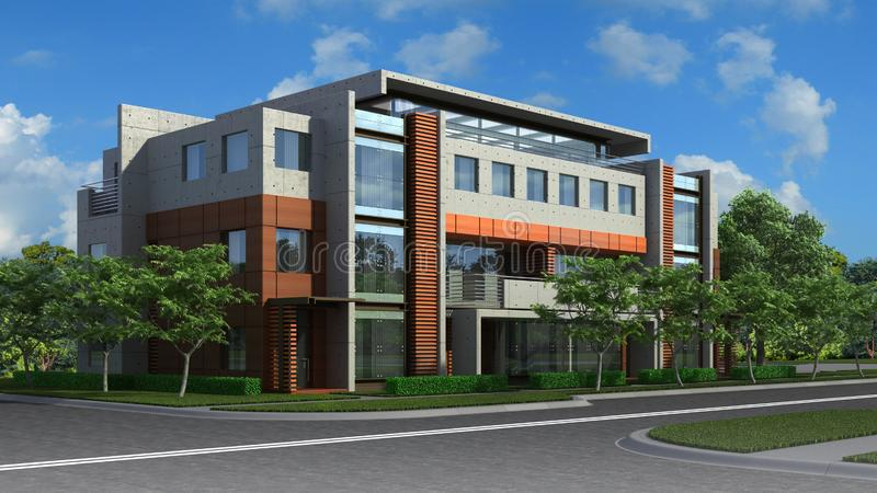 Illustration 3D eines Luxuswohngebäudes vektor abbildung