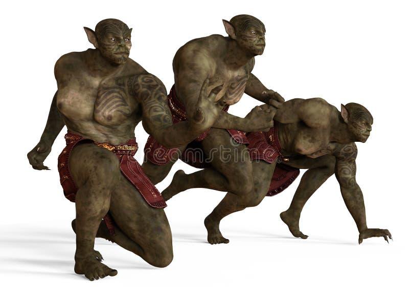 Illustration 3D eines Mutant-Monsters lokalisiert auf Weiß stock abbildung