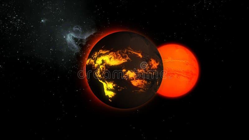 Illustration 3d eines Sternes mit Lavaflüssen auf eine Oberfläche im Raum stock abbildung