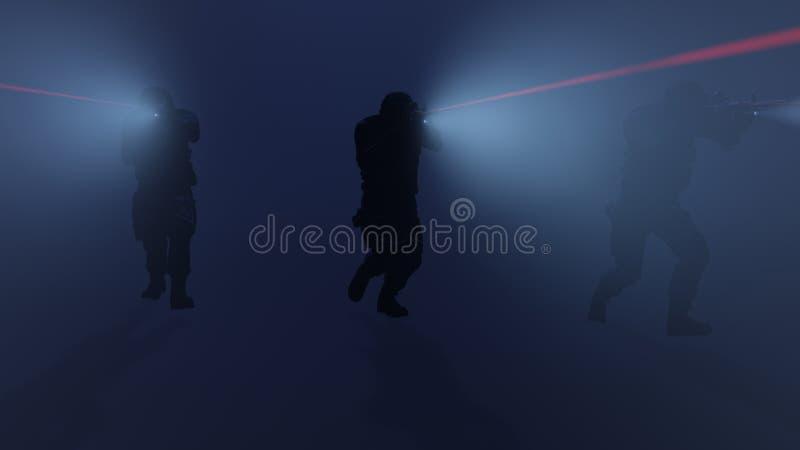 Illustration 3d eines SWAT-Teams in der Aktion mit den Taschenlampen und Laser-Anblick an stock abbildung