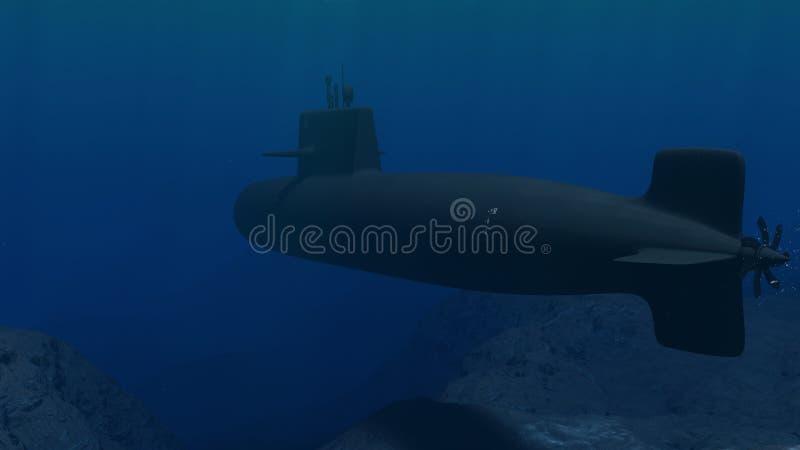 Illustration 3D eines Unterseeboots, das nah an dem Meeresgrund patrouilliert vektor abbildung