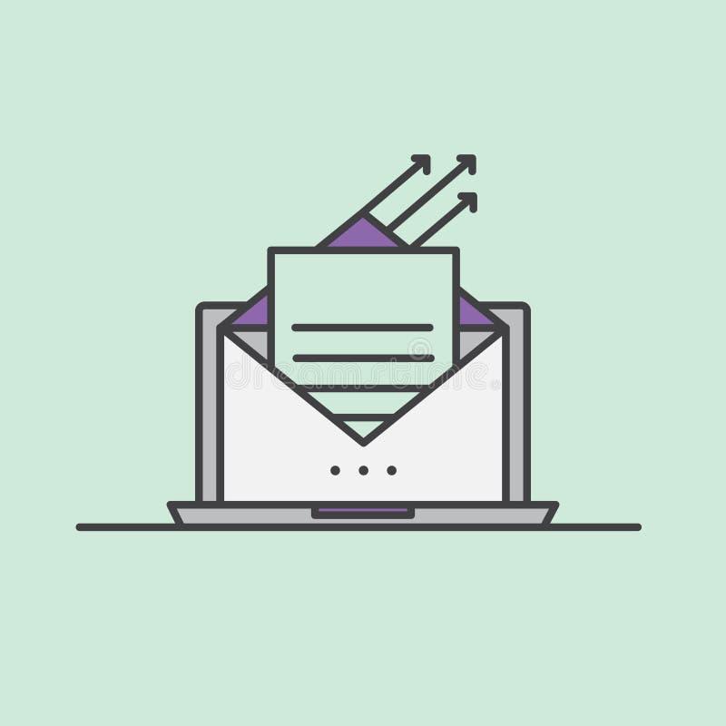 Illustration d'email lançant le concept sur le marché illustration de vecteur
