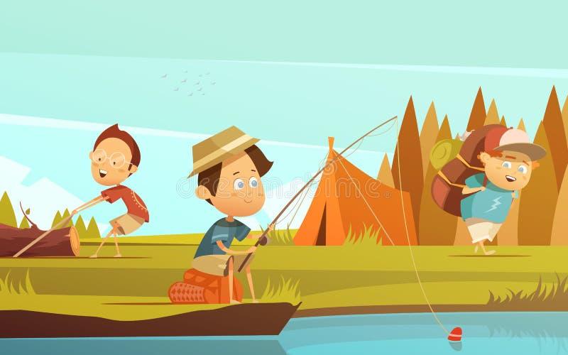 Illustration d'enfants de camping illustration de vecteur