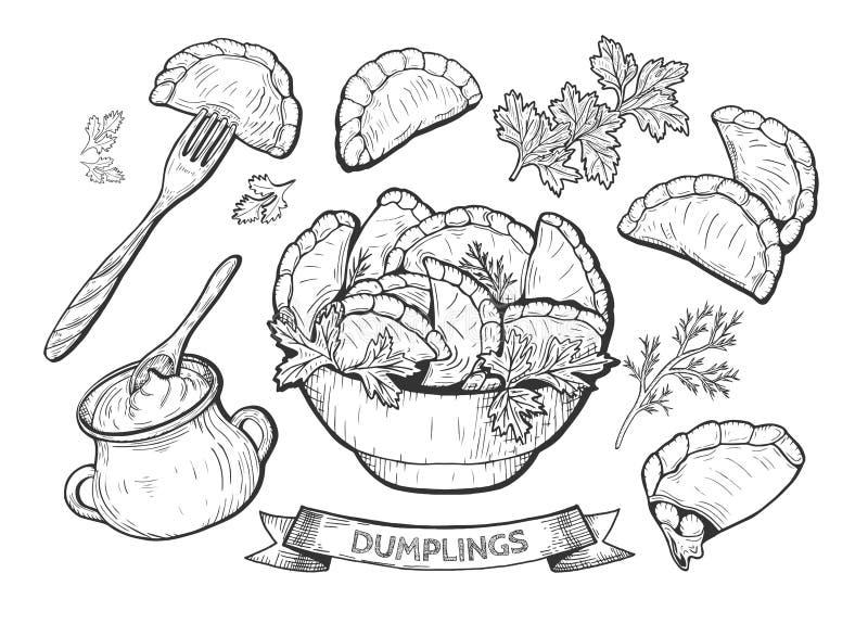Illustration d'ensemble de boulettes illustration de vecteur