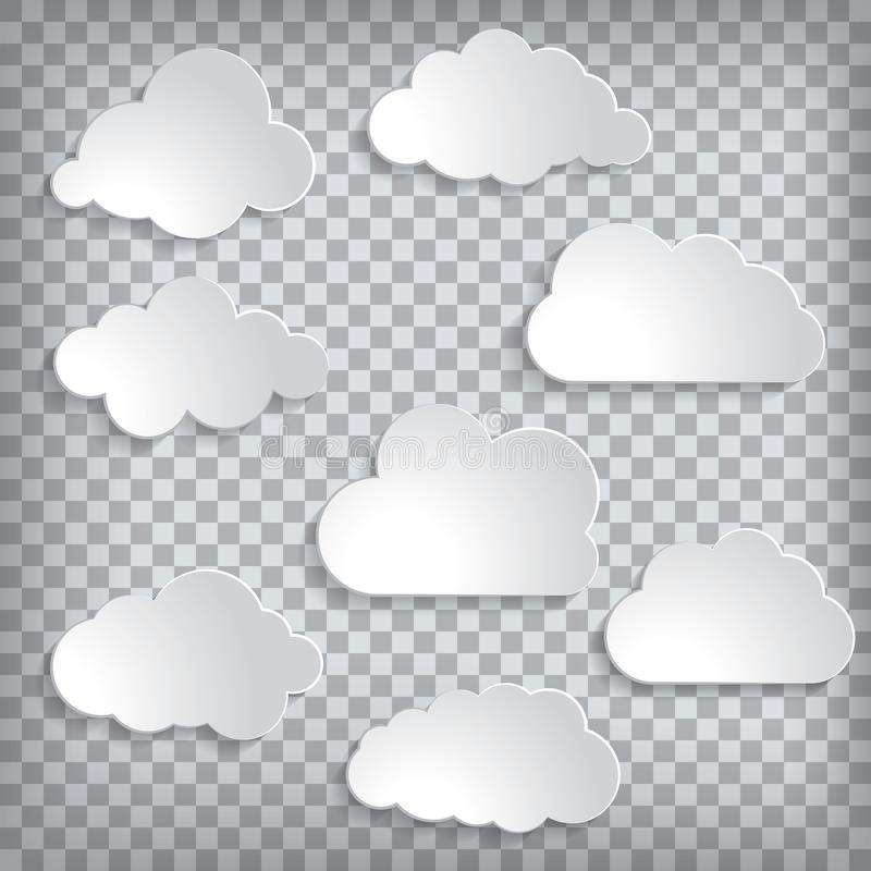 illustration d'ensemble de nuages sur un fond quadrillé illustration stock