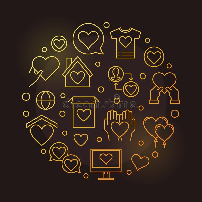 Illustration d'or d'ensemble de vecteur de rond de charité et de donation illustration stock
