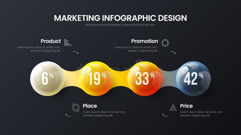 Illustration d'entreprise de vecteur infographic de présentation d'option des affaires 4 Disposition de conception de commerciali illustration de vecteur