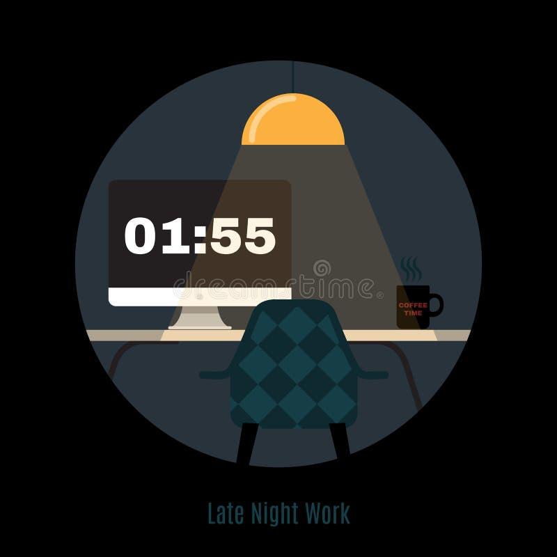 Illustration d'espace de travail moderne de bureau Nuit indépendante illustration de vecteur