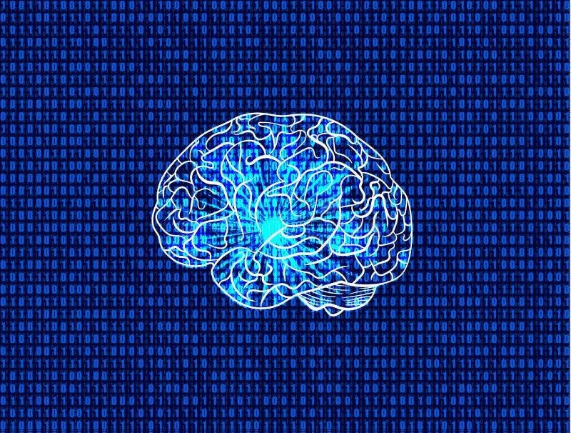 Illustration d'esprit de Cyber de vecteur, fond de code binaire et cerveau rougeoyant, contexte de données matricielles illustration de vecteur