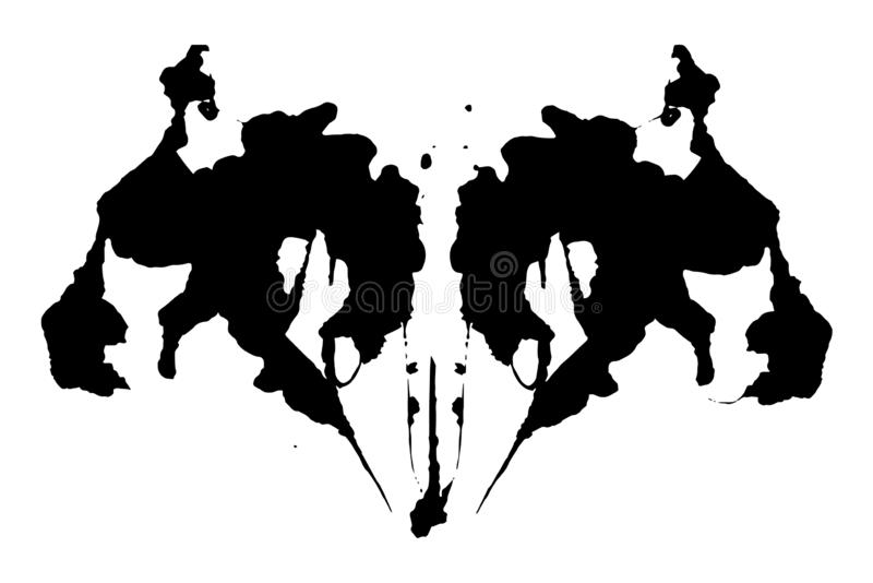 Illustration d'essai de tache d'encre de Rorschach, taches abstraites symétriques d'encre illustration libre de droits