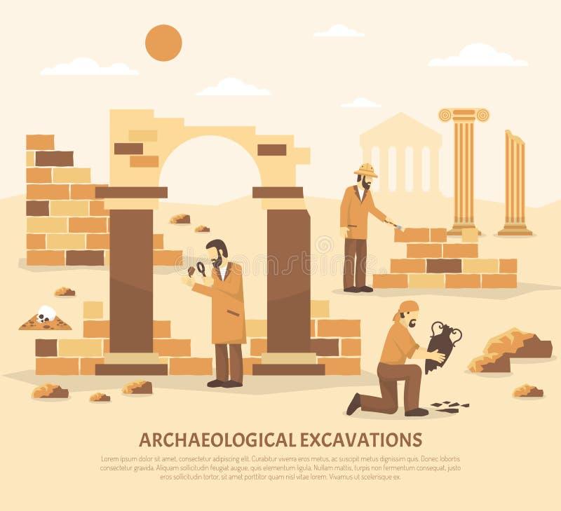 Illustration d'excavation d'archéologie illustration stock