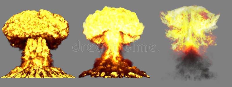 illustration 3D d'explosion - explosion diff?rente d?taill?e de champignon atomique de 3 phases de grande haute de bombe nucl?air illustration de vecteur