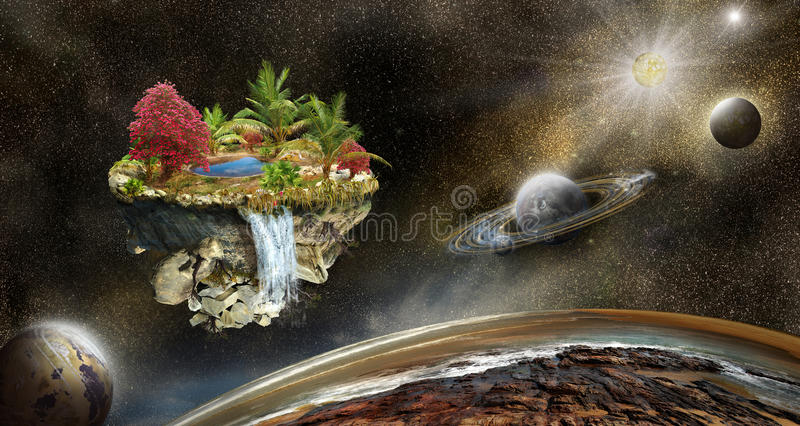 Illustration 3d fantasy island in space. Fantasy island on a background of outer space and the planets. Illustration vector illustration