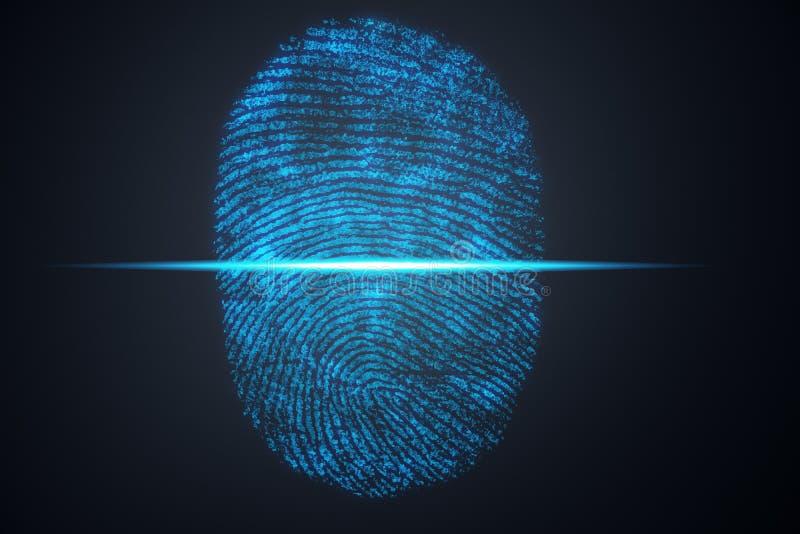 Illustration 3D Fingerabdruckscan bietet Sicherheitszugang mit Biometrieidentifizierung Konzept-Fingerabdruckschutz stockfotografie