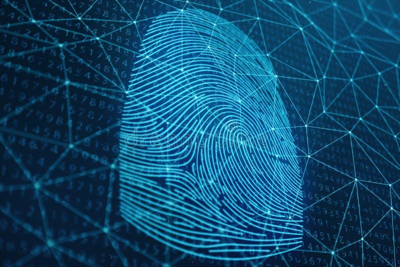 Illustration 3D Fingerabdruckscan bietet Sicherheitszugang mit Biometrieidentifizierung Konzept-Fingerabdruckschutz lizenzfreie stockfotos