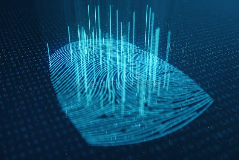Illustration 3D Fingerabdruckscan bietet Sicherheitszugang mit Biometrieidentifizierung Konzept-Fingerabdruckschutz stockbild