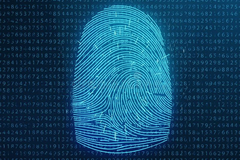 Illustration 3D Fingerabdruckscan bietet Sicherheitszugang mit Biometrieidentifizierung Konzept-Fingerabdruckschutz lizenzfreie stockfotografie