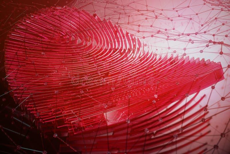 Illustration 3D Fingerabdruckscan bietet Sicherheitszugang mit Biometrieidentifizierung Personendaten, die Konzept zerhacken stockbild