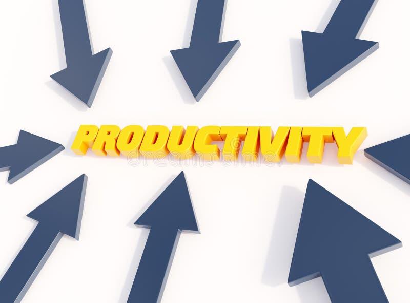 Illustration 3d, flèches typographique de productivité se dirigeant pour exprimer la productivité illustration stock