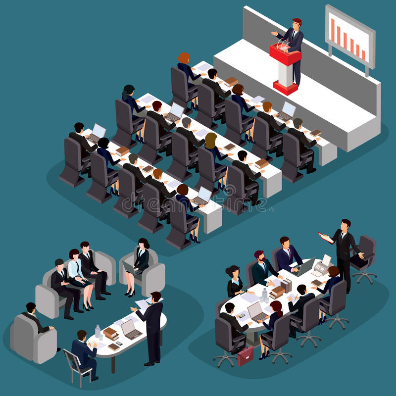 Illustration of 3D flat isometric business people. The concept of a business leader, lead manager, CEO. Business meeting in a modern office, speaker at a stock illustration