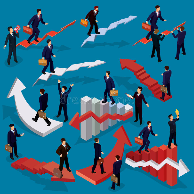 Illustration of 3D flat isometric people. Concept of business growth, career ladder, the path to success. Illustration of 3D flat isometric people. Businessman stock illustration