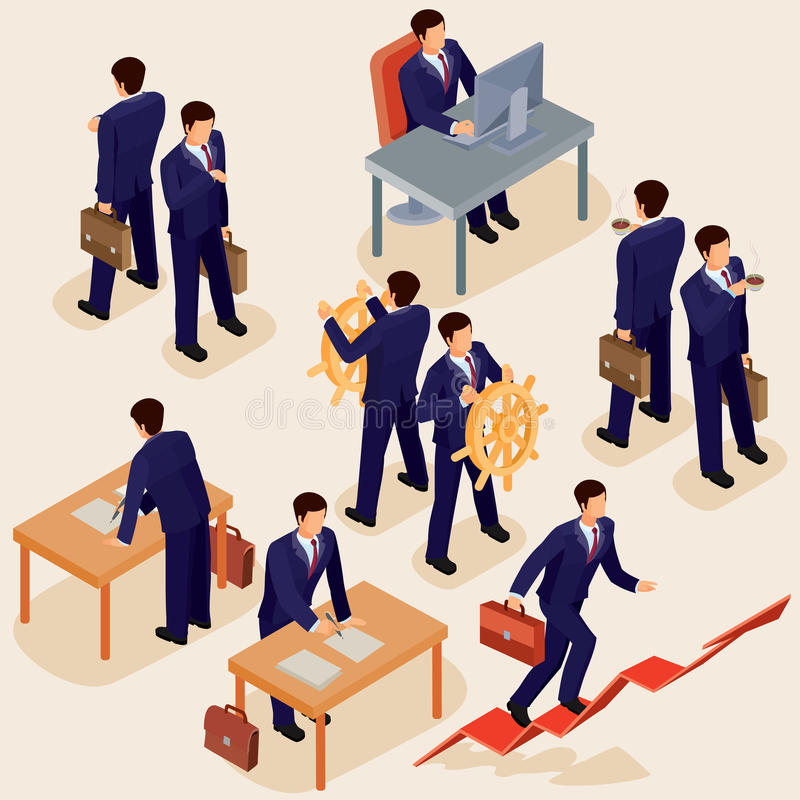Illustration of 3D flat isometric people. The concept of a business leader, lead manager, CEO. Boss, his vision and personal success stock illustration