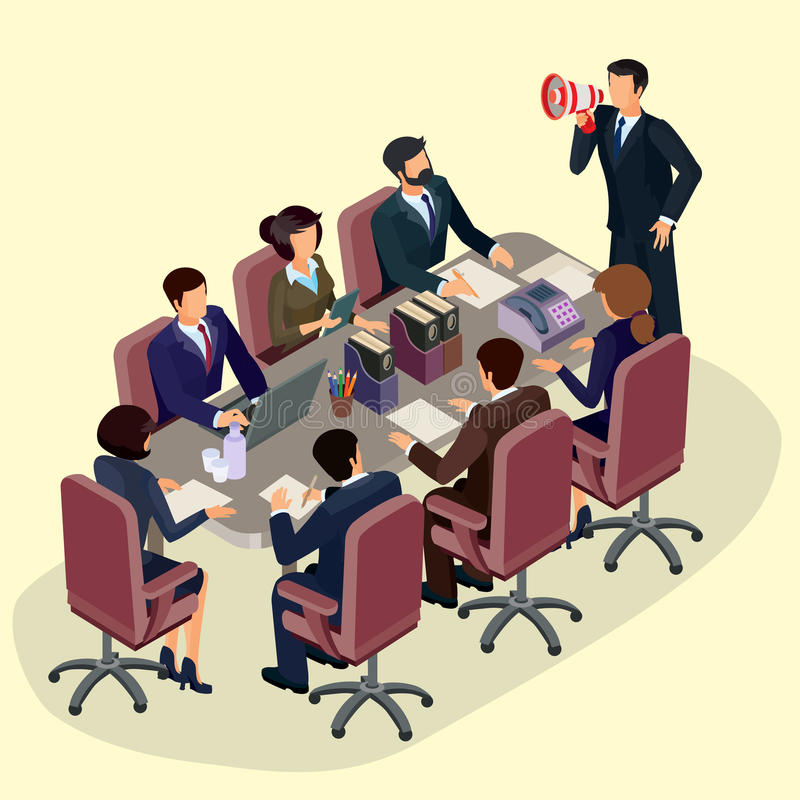 Illustration of 3D flat isometric people. The concept of a business leader, lead manager, CEO. Business meeting in a modern office, speaker at a business stock illustration
