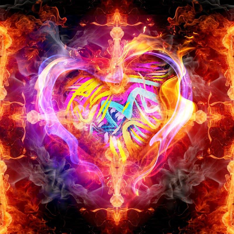 Illustration 3d générée par ordinateur artistique abstraite d'illustration énergique ardente fumeuse de glorification religieuse  illustration libre de droits