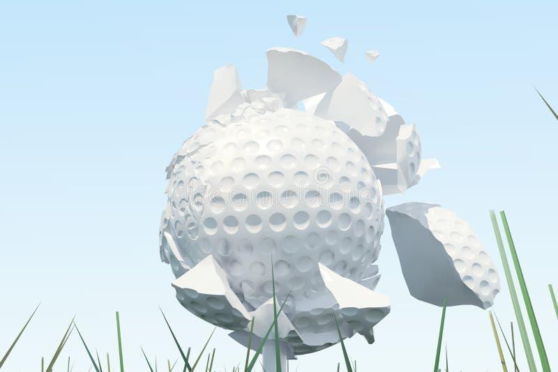 Illustration 3D Golfball-Streuungen zu den Stücken nachdem ein starker Schlag und ein Ball im Gras, Abschluss herauf Ansicht über lizenzfreie abbildung