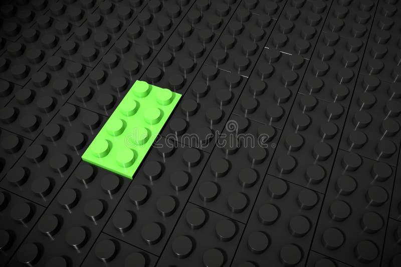 Illustration 3d: Grüne verschiedene Spielwaren bessern Lügen auf einem schwarzen Hintergrund werden eingefügt in die Nut aus Gesc vektor abbildung