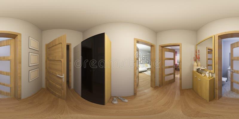 Innenarchitektur Halle illustration 3d 360 grad panorama der innenarchitektur der halle