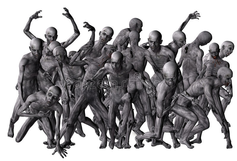 Crowd of zombies vector illustration