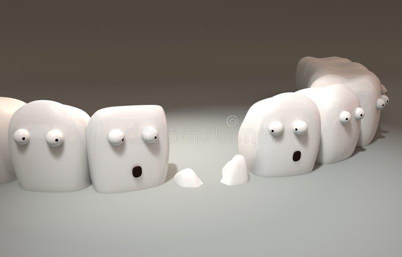 illustration 3d Gulliga tänder har märkt en förlust bland dem royaltyfri illustrationer