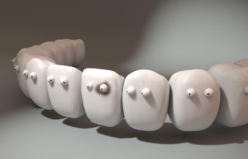 illustration 3d Gulliga tänder märkte bland dem patienten royaltyfri illustrationer
