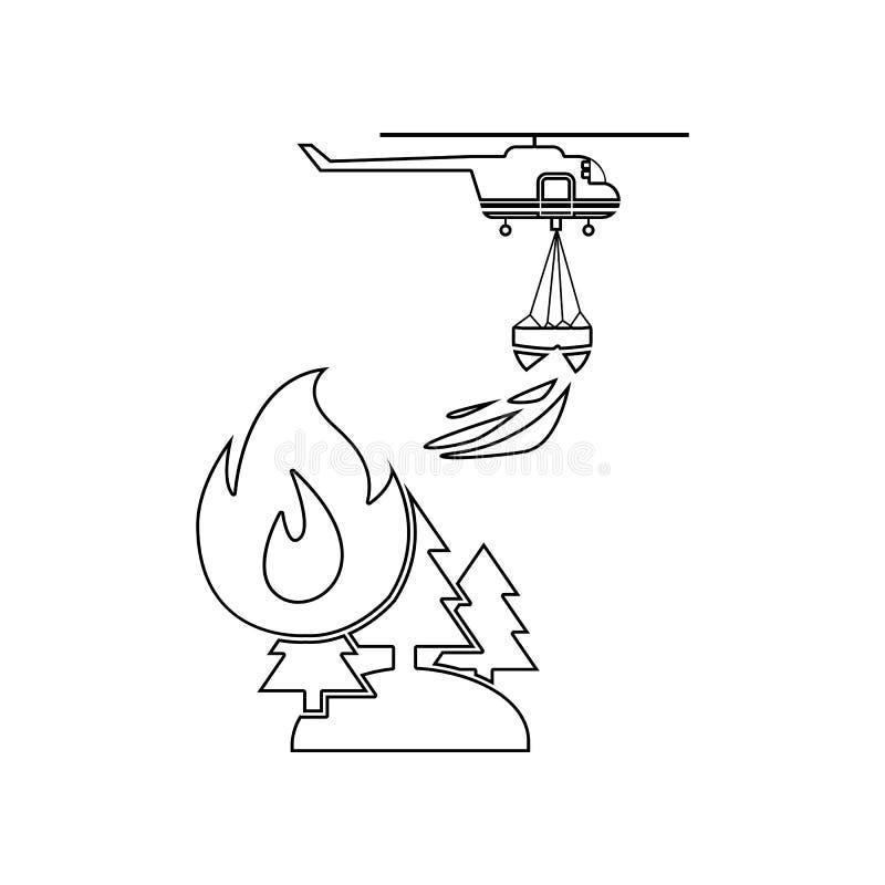 illustration d'h?licopt?re de lutte contre l'incendie de for?t de d?livrance dans l'ic?ne d'air E illustration libre de droits