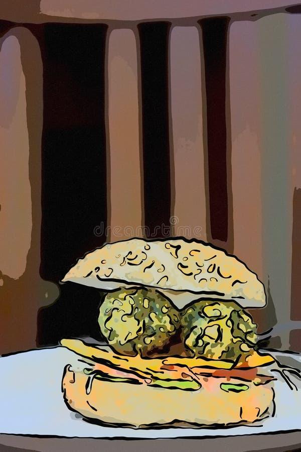 Illustration d'hamburger de falafel du plat blanc illustration stock