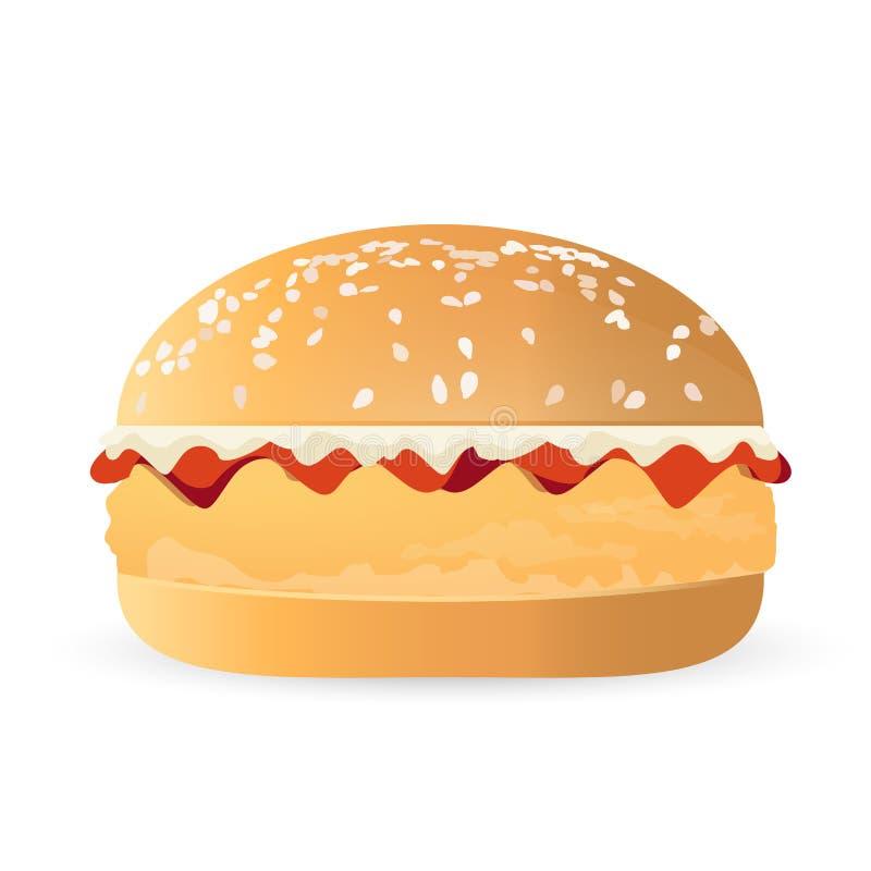 illustration d'hamburger de poulet de lard et de fromage illustration de vecteur