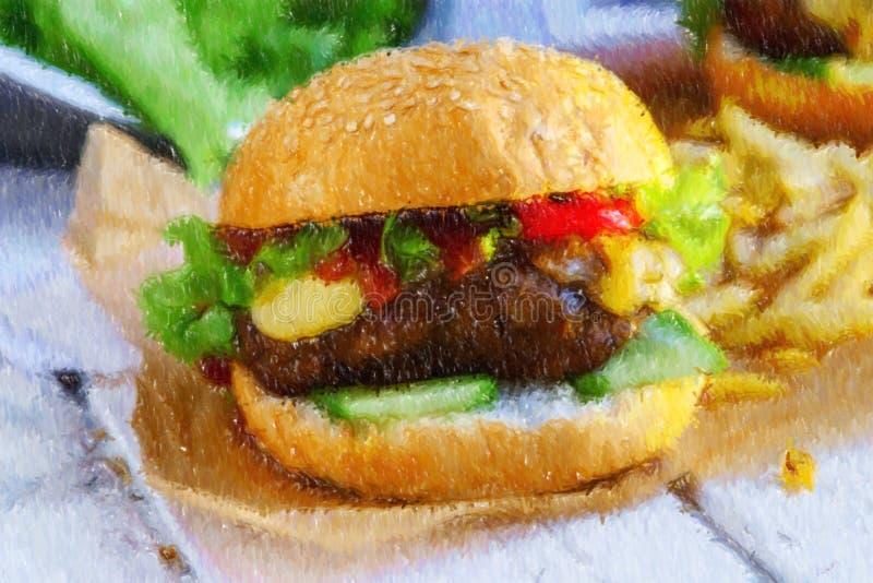 Illustration d'hamburger végétarien avec le seitan - viande de vegan illustration de vecteur