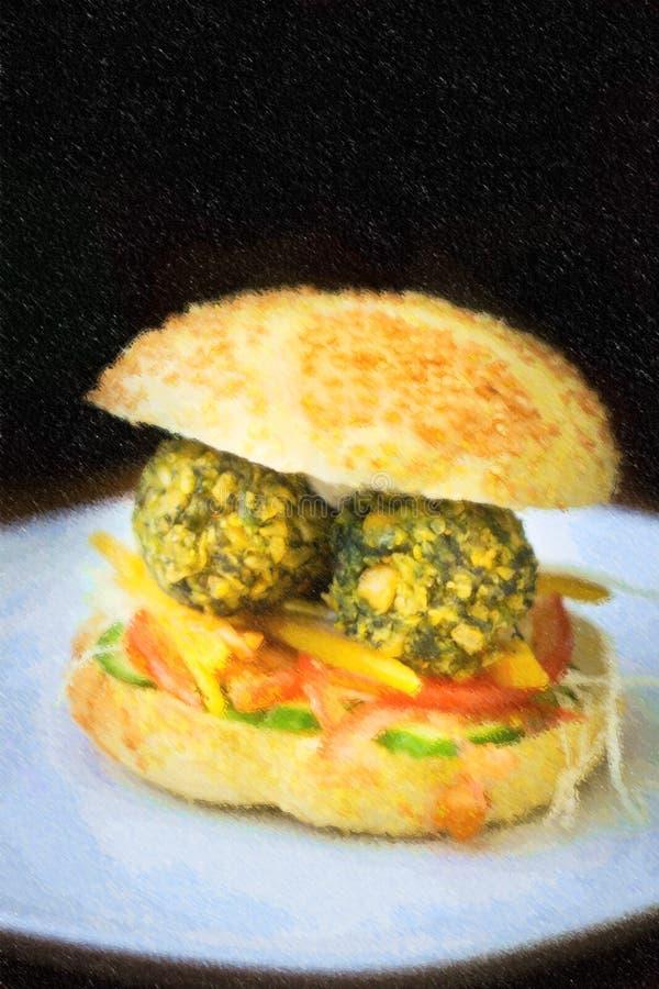 Illustration d'hamburger végétarien d'hamburger de falafel avec des légumes et de falafel au-dessus de fond noir illustration libre de droits