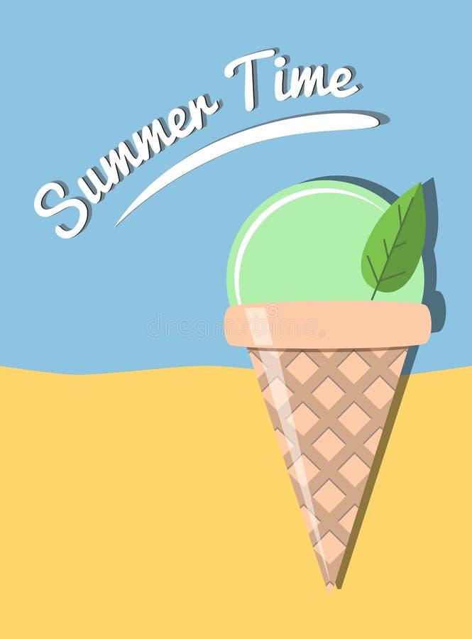 Illustration d'heure d'été avec la crème glacée  illustration stock