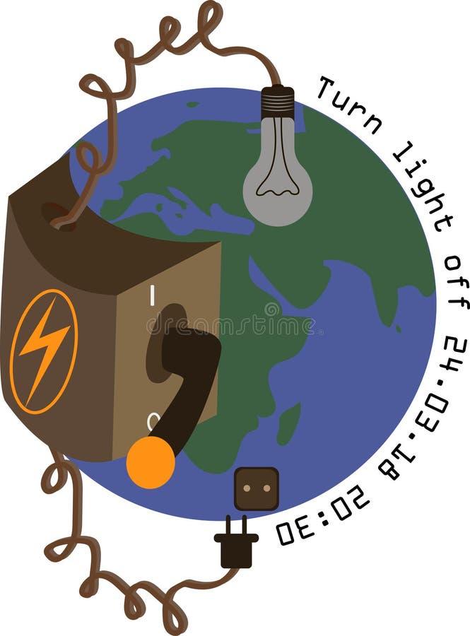 Illustration d'heure de la terre Le commutateur est dans la position de repos, t illustration de vecteur