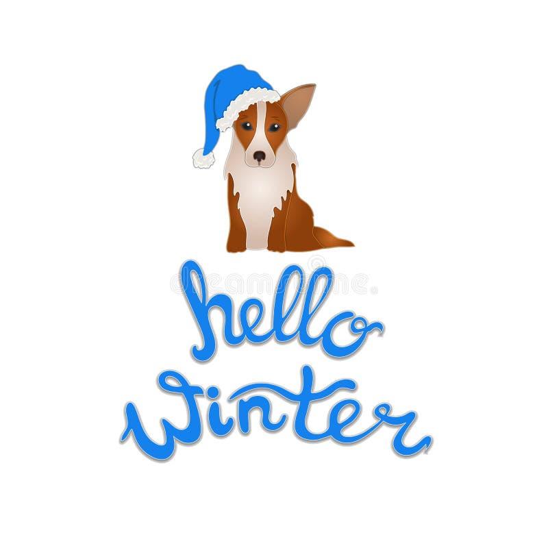 Illustration d'hiver de vecteur bonjour avec le symbole des 2019 ans : Chien, d'isolement sur le fond blanc illustration stock