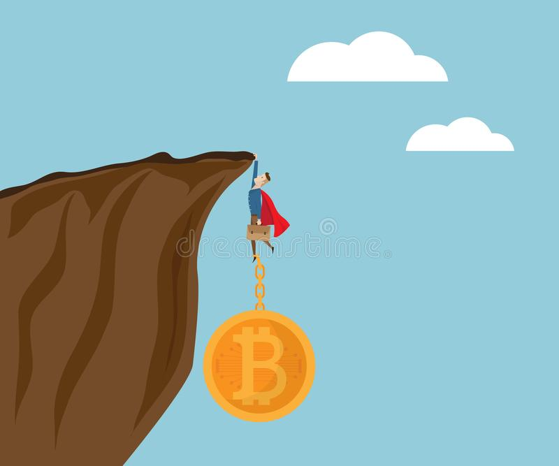 Illustration d'homme d'affaires accrochant à la falaise avec des bitcoins illustration libre de droits