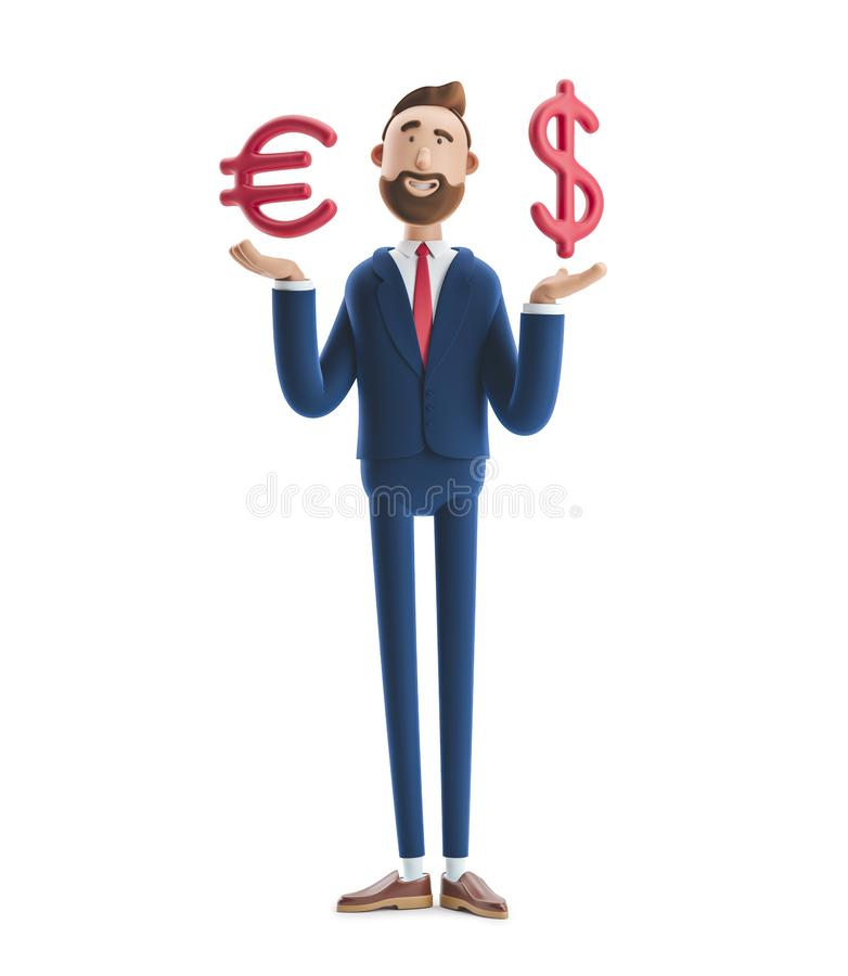 illustration 3D Homme d'affaires Billy avec le grands euro et symbole dollar illustration de vecteur