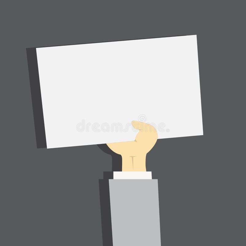 Illustration d'homme d'affaires Hand Holding Upward un papier blanc avec l'ombre Avant-bras soulevant la feuille blanche propre r illustration stock
