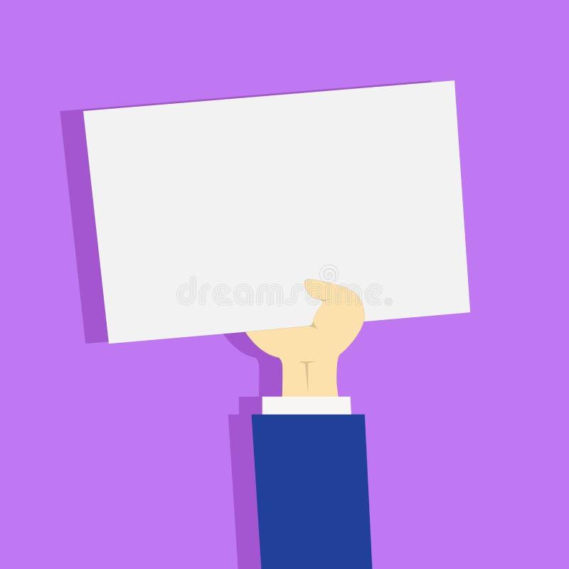 Illustration d'homme d'affaires Hand Holding Upward un papier blanc avec l'ombre Avant-bras soulevant la feuille blanche propre r illustration libre de droits