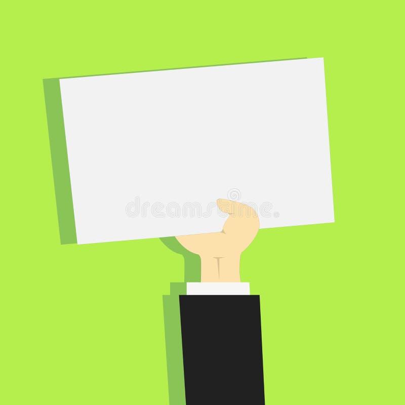 Illustration d'homme d'affaires Hand Holding Upward un papier blanc avec l'ombre Avant-bras soulevant la feuille blanche propre r illustration de vecteur