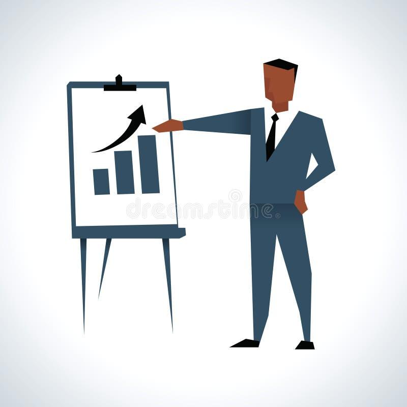 Illustration d'homme d'affaires Giving Presentation At Flipchart illustration libre de droits