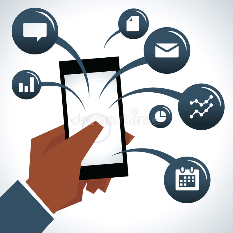 Illustration d'homme d'affaires Holding Mobile Phone et d'icônes illustration stock