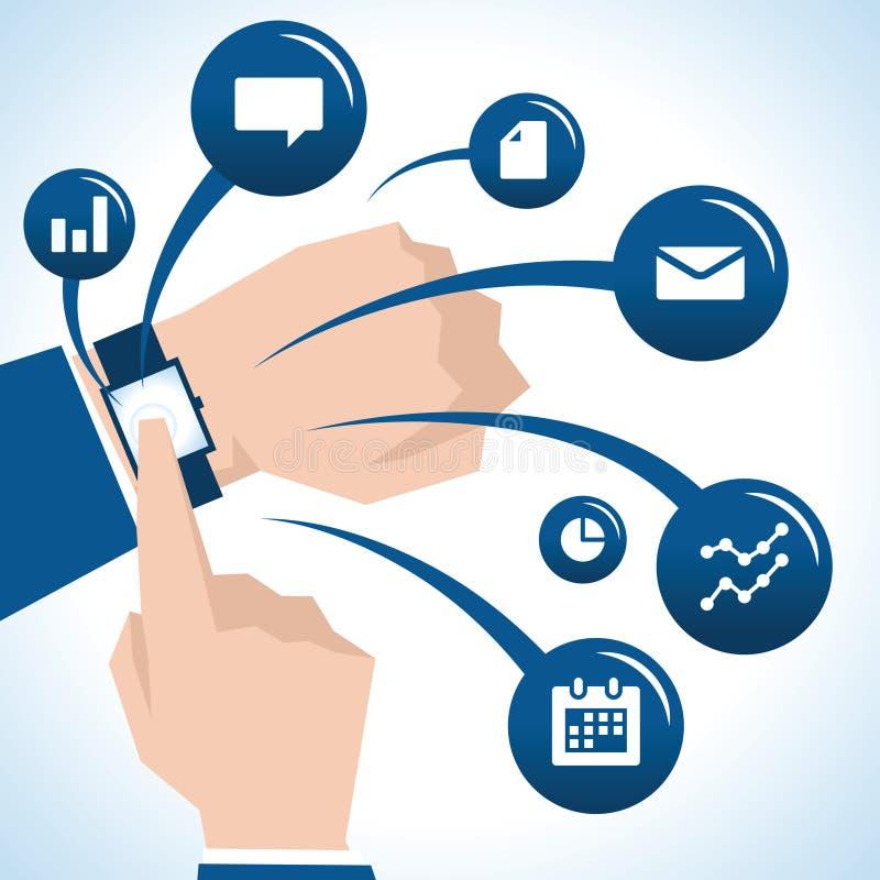 Illustration d'homme d'affaires With Smart Watch et d'icônes illustration stock